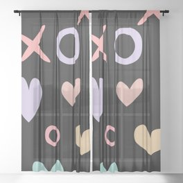 Kisses and Hugs with Hearts on Black Sheer Curtain