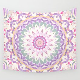 Calypso Mandala in Pastel Pink, Purple, Green, and White Wall Tapestry