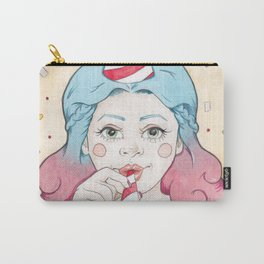 Blue and Purple Haired Party Girl Iris with a Popper, Party Hat & Confetti Carry-All Pouch