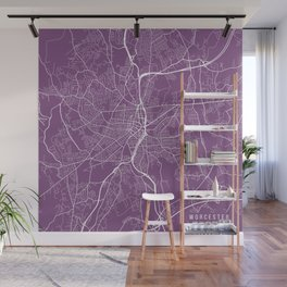 Worcester Map, USA - Purple Wall Mural