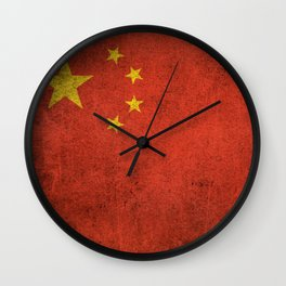 Old and Worn Distressed Vintage Flag of China Wall Clock
