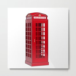 Red English Phone Booth Metal Print