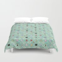 digimon Duvet Covers featuring Nade Nade by Kiriska