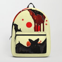DECORATIVE FLYING BLACK BATS & HALLOWEEN BLOODY ART Backpack