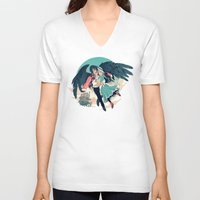 calcifer V-neck T-shirts featuring Fly Away With Me by Nikittysan