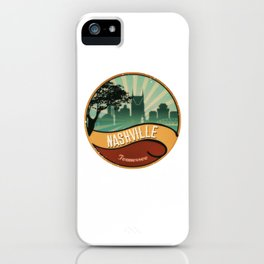 Nashville City Skyline Tennessee Retro Vintage Design iPhone Case