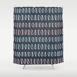 color stripe waves on dark blue Shower Curtain