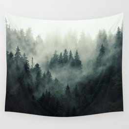 Misty pine fir forest landscape in hipster vintage retro style Wall Tapestry