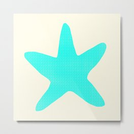 Aqua Starfish on Pale Yellow Metal Print