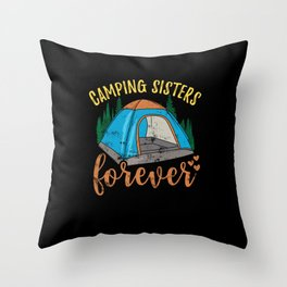 Camping Sisters Throw Pillow