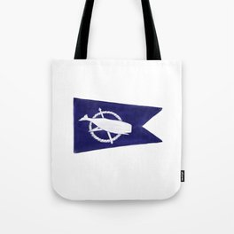 Nantucket Blue and White Sperm Whale Burgee Flag Hand-Painted Tote Bag