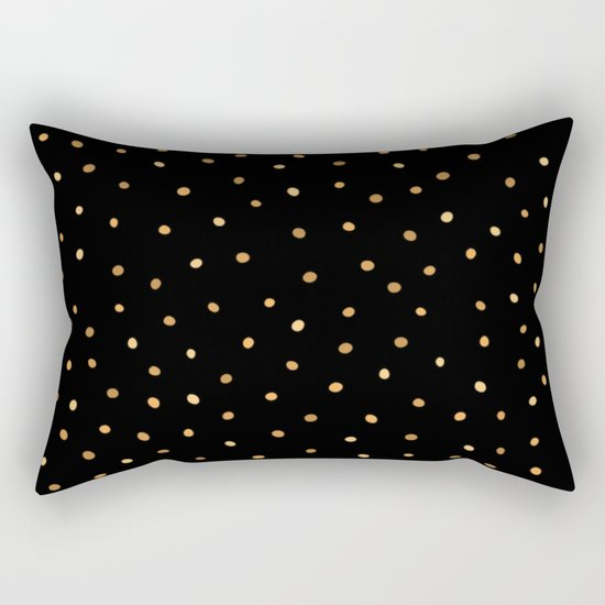 Dazzling Golden Polka Dots Rectangular Pillow