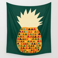 pineapple Wall Tapestries featuring Pineapple by Picomodi