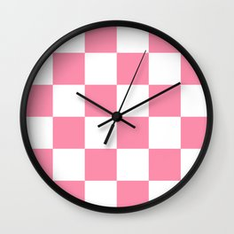 Large Checkered - White and Flamingo Pink Wall Clock