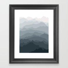 Silver Dew Mountains Framed Art Print
