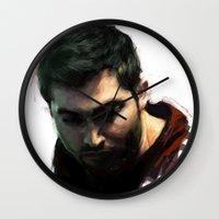 derek hale Wall Clocks featuring Derek by @cuisle