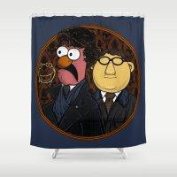 221b Shower Curtains featuring 221b Beaker Street by Onebluebird