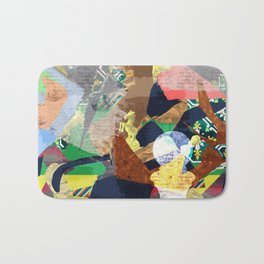 Abstract composition with chess pieces Bath Mat