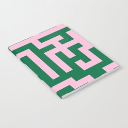 Cotton Candy Pink and Cadmium Green Labyrinth Notebook