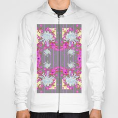 Pink Flowers White Mums Grey Color Garden Art Hoody
