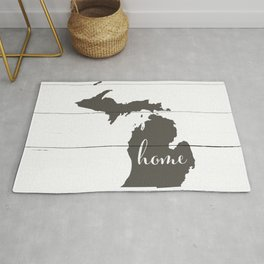 Michigan is Home - Charcoal on White Wood Rug