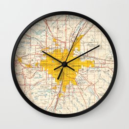 Denver map year 1958, old map, us maps, usa maps, vintage maps Wall Clock