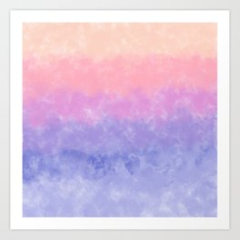 Artsy lavender pink coral watercolor ombre brushstrokes Art Print