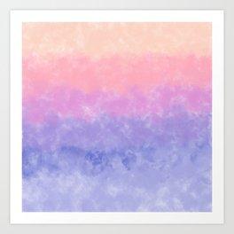 Artsy lavender pink coral watercolor ombre brushstrokes Art Print