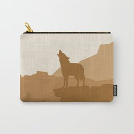 Coyote howling at the Sand Carry-All Pouch