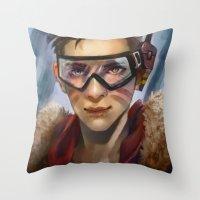 pilot Throw Pillows featuring Pilot by Shoko Lam