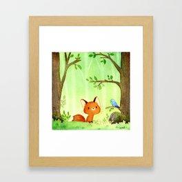 Little fox and bird Framed Art Print