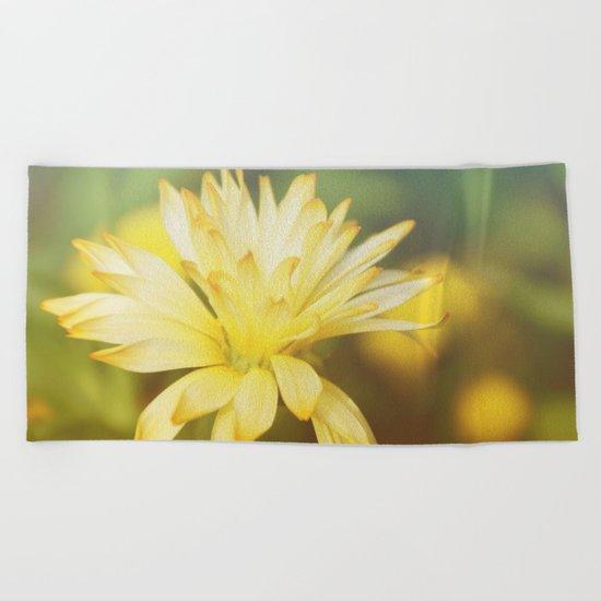 Dreamy yellow wild flower Beach Towel