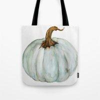 craftberrybush Tote Bags featuring Blue-Gray Cinderella Pumpkin - Watercolor  by craftberrybush