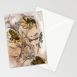 inked yellow flower & leaf print Stationery Cards