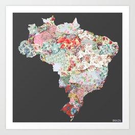 Brazil map #2 Art Print