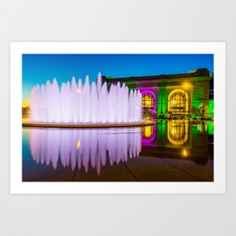 Colorful Union Station and Wollman Bloch Fountain - Kansas City Art Print