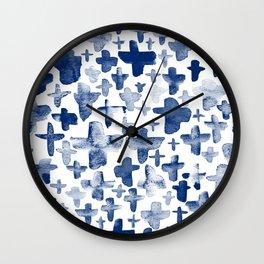 Navy Blue Crosses Wall Clock