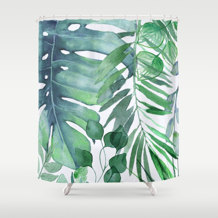 Tropical Leaves Shower Curtain by nadja1 | Society6