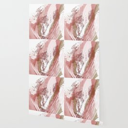 Sugar and Spice: a minimal, abstract mixed-media piece in pink and brown by Alyssa Hamilton Art Wallpaper