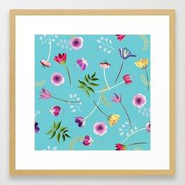 Floral pattern on blue background Framed Art Print