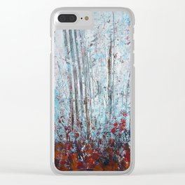 Autumn Smoke - Misty Autumn Forest Scene Clear iPhone Case