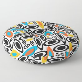 Yellow Orange Blue 60's Retro abstract Circle Pattern Floor Pillow