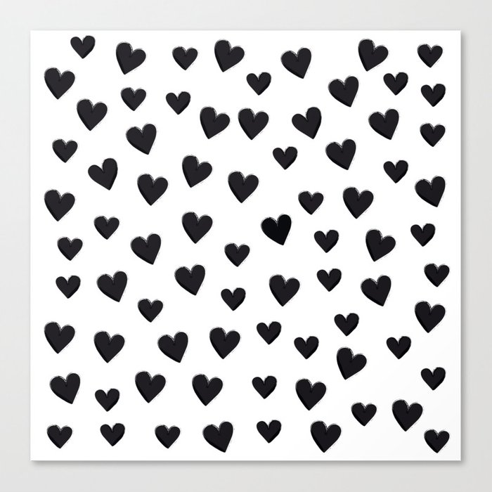 Hearts Love Black and White Pattern Leinwanddruck