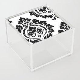 Decorative Damask Art I Black on White Acrylic Box