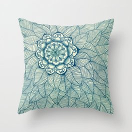 Emerald Green, Navy & Cream Floral & Leaf doodle Throw Pillow