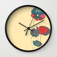amelie Wall Clocks featuring Amelie Floral  by Endless Summer