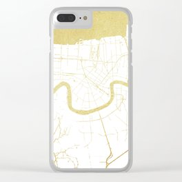 New Orleans White and Gold Map Clear iPhone Case
