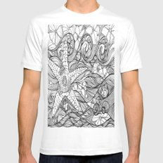 Starfish went out swimming MEDIUM White Mens Fitted Tee
