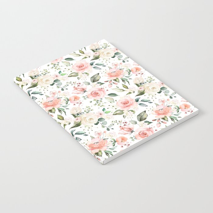 Sunny Floral Pastel Pink Watercolor Flower Pattern Notebook