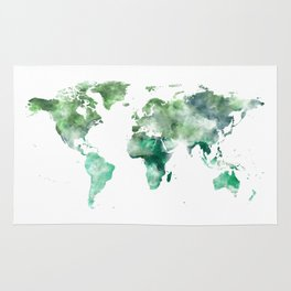 World Map Emerald Green Earth Rug